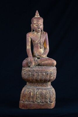 19th Century Antique Seated Wood Burmese Protection Buddha Statue - 45cm/18""