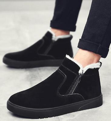 Mens Thicken Fleece Lined Ankle Snow Boots Flats Slip On Warm Winter Shoes G329