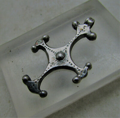 Late Roman Early Byzantine Silver Cross Amulet. Wearable. Beautiful Item