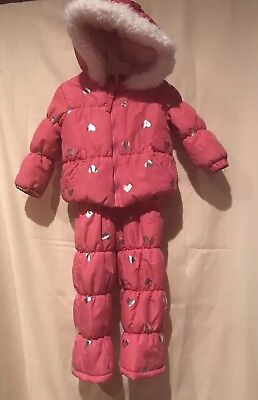 b36cf1138 WEATHERPROOF BABY TODDLER Girl Coat Snowsuit Set 18 Months Pink ...