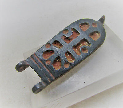 Scarce Circa 600-900Ad Byzantine Era Crusaders Strap End With Cross Motifs