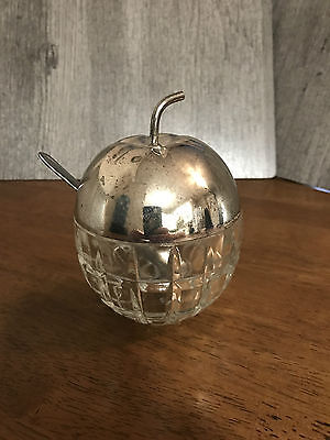 Cut Glass with Metal Cover Apple Shaped Jam or Jelly Jar with Spoon