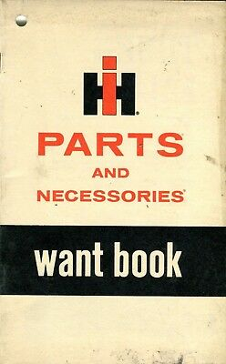 Vintage International Harvester Parts and Necessories Want Book Advertising