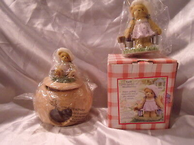 Cherished Teddies 2003 MEMBERSHIP  Leah figure & Candle Holder with Leah Topper