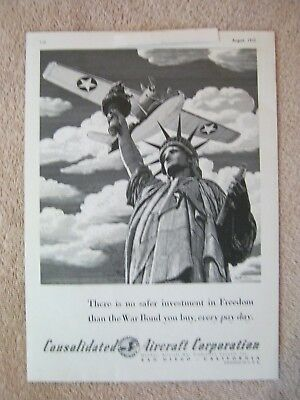 Vintage 1942 WWII Consolidated Aircraft War Effort Statue of Liberty Print Ad