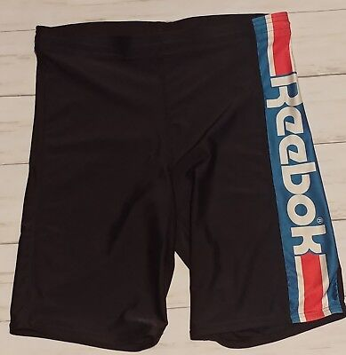 Vintage REEBOK Mens Womens Unisex Bike Shorts Large Black 90s Tight Logo Running