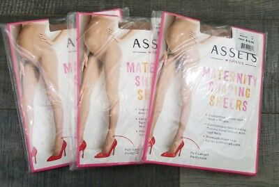 Spanx Assets 3 pack Maternity Shaping Sheers Full Length Nude Pantyhose Size 2