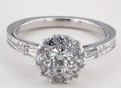 1.00Ct Round Brilliant Forever Diamond Halo Engagement Ring 14k Solid White Gold