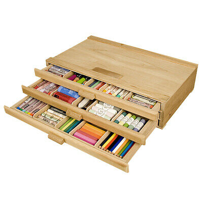3 Drawer Wooden Pastel Storage Box Pen Marker Art Tools Paint Brush Organizer