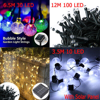 UK Outdoor Solar Powered Retro Bulb String Lights Bubble Garden Xmas Fairy Lamps