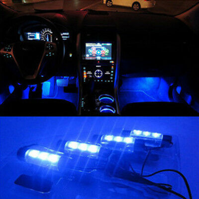 4 x 3 LED Blue Car Interior Atmosphere Lamp Charge Decor Floor Light Accessories