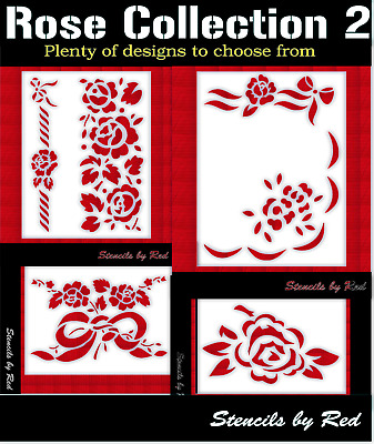 Rose stencils collection 2.Perfect for crafts,walls,diy,cards,textiles...etc
