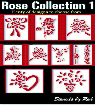 Rose stencils.Perfect for crafts,walls,diy,cards, painting,textiles...etc