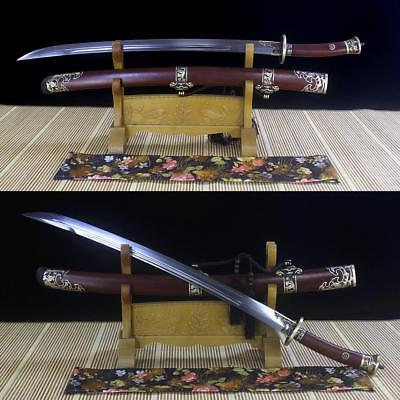 Handmade Chinese Sword Qing Dao 清刀 Damascus Blade Rosewood Scabbard Sharp Edge