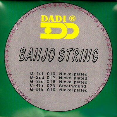 5 String Set of Dadi Nickel Plated Banjo Strings UK (1st class del.)