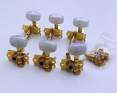 6 Gold-Plated Individual Guitar Machine Heads (3 x 3) Pearloid Buttons 2 Hole UK