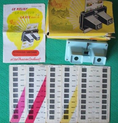 1960 Stereoscope LESTRADE Viewfinder+5 Belgium slides+Catalogue + original box