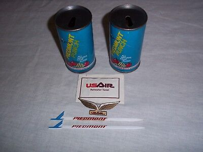 "2 Vintage Piedmont Airlines Juice Cans ""piedmont Punch"" Kids Airline Wings"