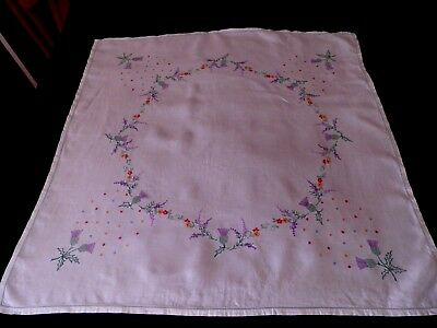 "VINTAGE EMBROIDERED LINEN TABLE CLOTH  - THISTLES - 32"" by 32"""