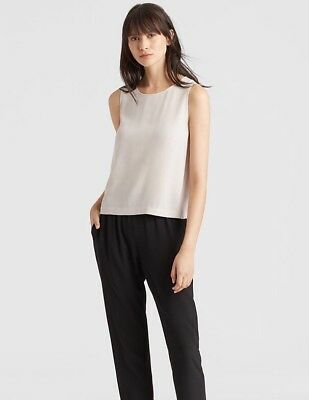 88abdbc07b4f Eileen Fisher System Silk Georgette Crepe Boxy Shell Size XXS MSRP   245