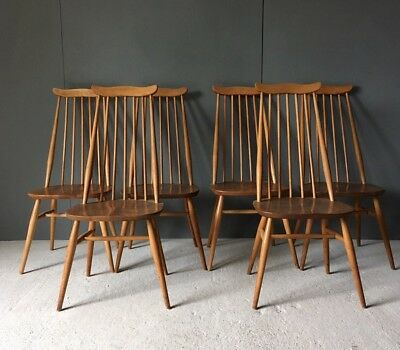 Vintage Retro Ercol Blonde Set Of Six Goldsmith Windsor Dining Chairs 6