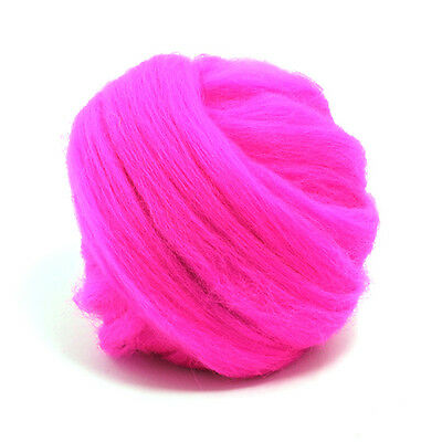 100g Dyed Merino Wool Top Hot Pink Dreads Needle Spinning Felting Roving