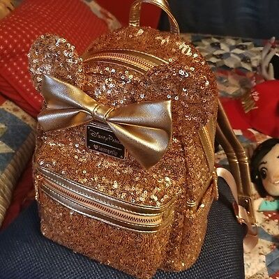 Disney Parks Disneyland Loungefly Rose Gold Ears Sequin Minnie Mini Backpack NWT
