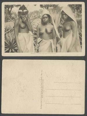 French West Africa, Femmes Foulahs, Native Fula Fulani Women Girls Old Postcard