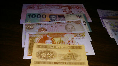 Lot of 10 from 7 different countries world paper money most Unc. With free gift