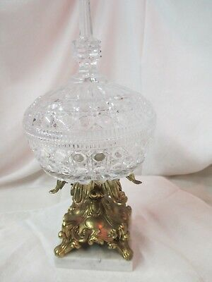 Vintage cut Crystal brass finish pot metal & Marble Compote Candy Dish with Lid