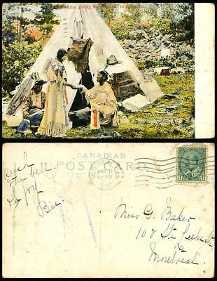 Native Indians Minnehaha Giving Refreshment to Hiawatha Canada 1907 Old Postcard