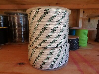 """3/8"""" x 300 ft. Double Braid-Yacht Braid Polyester Rope.White/Navy/Green. US Made"""