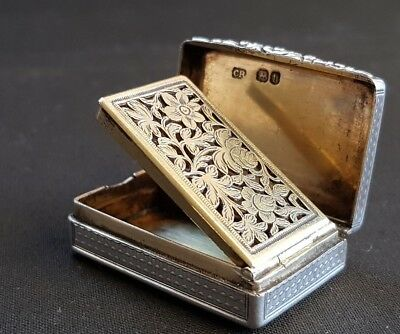 Excellent solid silver vinaigrette, Charles Rowlings, London, 1823
