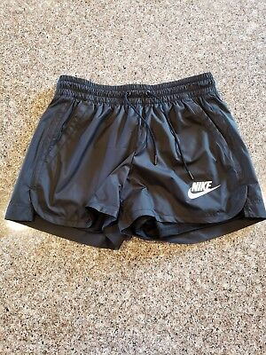 NIKE Black Woven Running Shorts Womens Sz Small with pockets