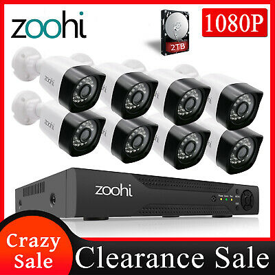 ANRAN 8CH 1080P CCTV Security Camera System Home Security Outdoor Video 2TB DVR