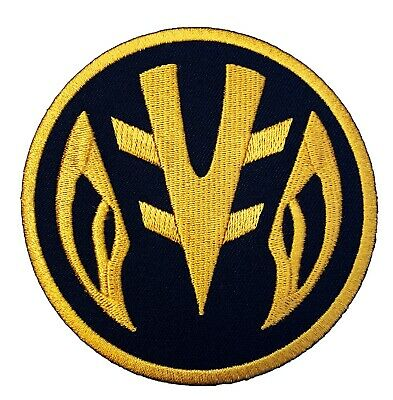 White Power Rangers Logo Patch Embroidered Iron on Badge Dino Coin Costume NEW