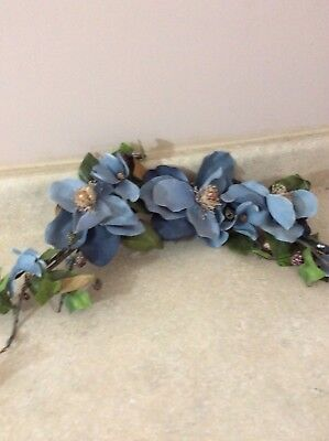 """Home Interior / Homco Blue Flower Swag Approx. 30"""" Wide"""