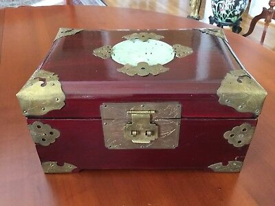Vintage Chinese Rosewood and Jade Jewelry Box with Etched Brass Accents