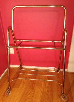 Mid Century Gold Metal Cart ~ Two Tier Rolling Vintage TV Cart