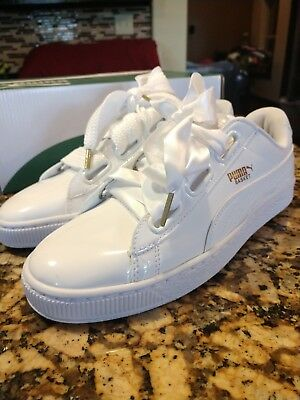 info for b9c3f aacc6 NEW WOMENS PUMA WHITE BASKET HEART PATENT PU Sneakers Court SZ 9.5