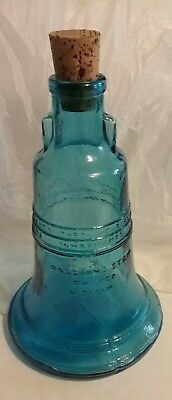 Vintage Wheaton Blue Glass Liberty Bell Pass and Stow Philada Bottle