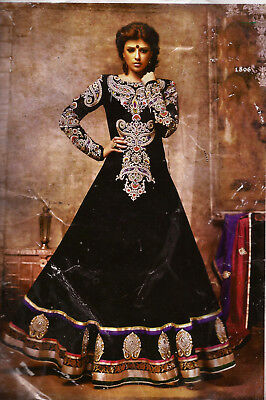 Black designer unstitched salwar shalwar kameez anarkali pakistani indian maxi