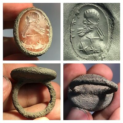 Extremely Beautiful Roman Intaglio Carved Bronze Antiique Ring #sh933