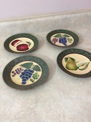 """Home Interior / Homco Set Of 4 -8"""" Plates Fruit On Each# 11132"""