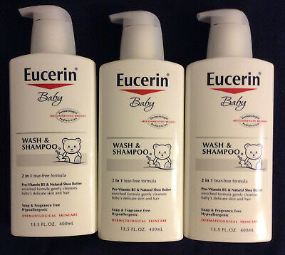 3 Pack Eucerin Baby Wash & Shampoo Tear-Free  Hypoallergenic Fragrance Free