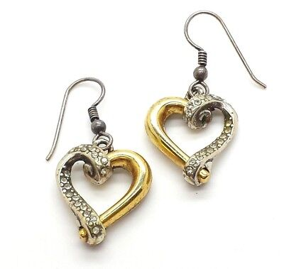 Yellow Gold on 925 Sterling Silver Crossover Cz Kiss Stud Earrings 2.5g 12x5mm
