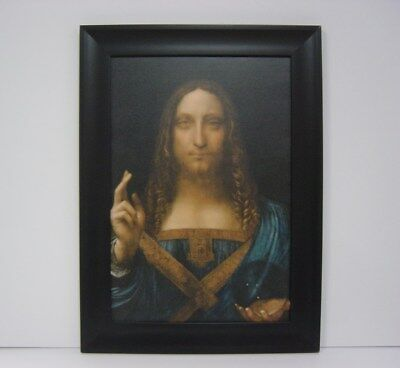 """Salvator Mundi""(20""x27"")Leonardo Da Vinci  Framed Canvas Giclee Print(MD-Black)"