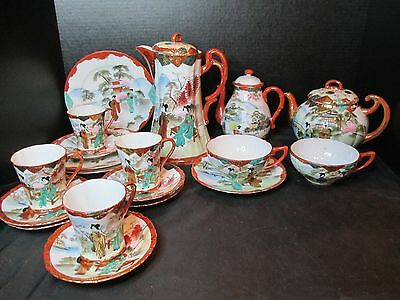 Nippon Chocolate Tea Pot Coffee Pot Geisha Girls Hand Painted Asian 19 Pieces