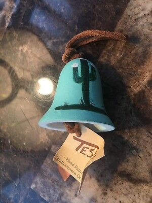 Tesa Hand Painted Small Pottery Wind Chime Bell Southwest Style Vtg Turquoise+