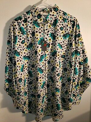 80s VINTAGE ESPRIT SPORT BUTTON UP SHIRT TROPICAL LARGE #A836